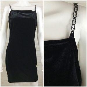 Gunne Sax | Velvet Mini Dress Beaded Straps 90s
